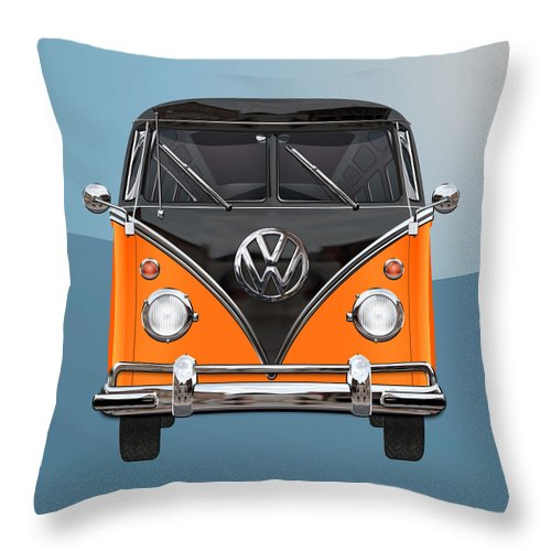'volkswagen Type 2' Collection By Serge Averbukh Throw Pillow featuring the photograph Volkswagen Type 2 - Black and Orange Volkswagen T 1 Samba Bus over Blue by Serge Averbukh