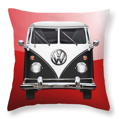 'volkswagen Type 2' Collection By Serge Averbukh Throw Pillow featuring the photograph Volkswagen Type 2 - Black and White Volkswagen T 1 Samba Bus on Red by Serge Averbukh