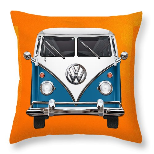 'volkswagen Type 2' Collection By Serge Averbukh Throw Pillow featuring the photograph Volkswagen Type 2 - Blue And White Volkswagen T 1 Samba Bus Over Orange Canvas by Serge Averbukh