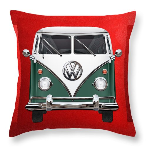 'volkswagen Type 2' Collection By Serge Averbukh Throw Pillow featuring the photograph Volkswagen Type 2 - Green and White Volkswagen T 1 Samba Bus over Red Canvas by Serge Averbukh