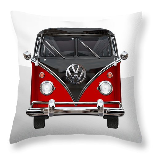 'volkswagen Type 2' Collection By Serge Averbukh Throw Pillow featuring the photograph Volkswagen Type 2 - Red And Black Volkswagen T 1 Samba Bus On White by Serge Averbukh