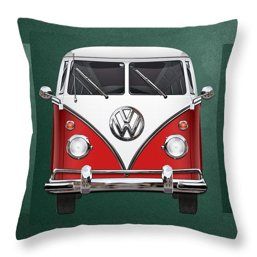 'volkswagen Type 2' Collection By Serge Averbukh Throw Pillow featuring the photograph Volkswagen Type 2 - Red And White Volkswagen T 1 Samba Bus Over Green Canvas by Serge Averbukh