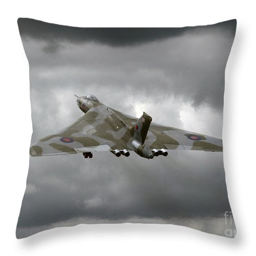 Avro Vulcan Throw Pillow featuring the photograph Vulcan To The Sky by Angel Ciesniarska