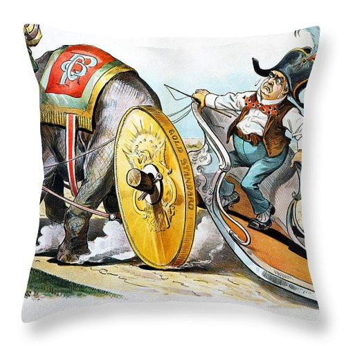1896 Throw Pillow featuring the photograph W. Mckinley Cartoon, 1896 by Granger