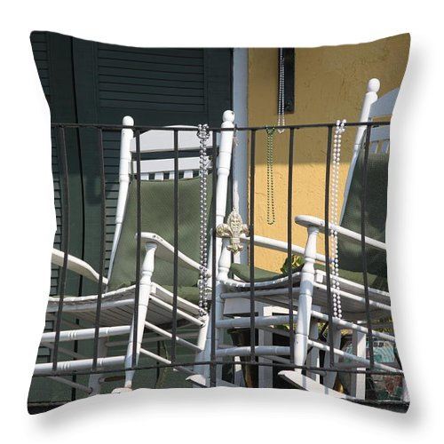 New Orleans Throw Pillow featuring the photograph Waiting For Mardi Gras by Lauri Novak