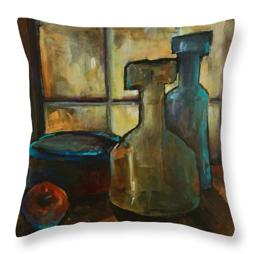 Still Life Fruit Apples Jars Bottles Dusk Lighting Mood Throw Pillow featuring the painting Waiting by Michael Lang
