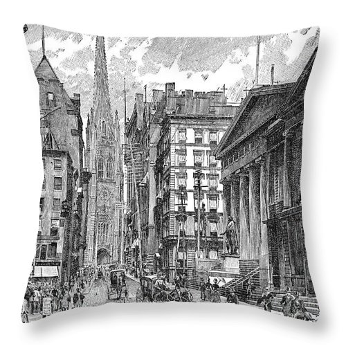 Architecture Throw Pillow featuring the photograph Wall Street, 1889 - To License For Professional Use Visit Granger.com by Granger