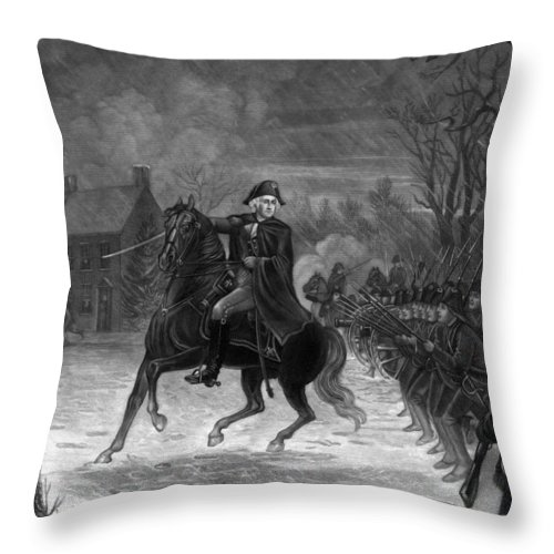 George Washington Throw Pillow featuring the drawing Washington At The Battle Of Trenton by War Is Hell Store