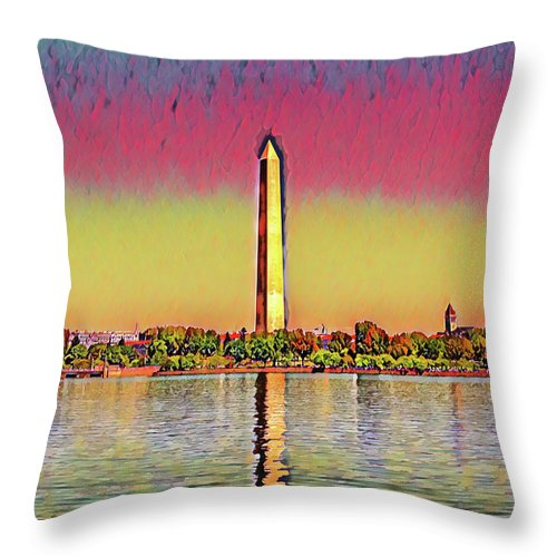 America Throw Pillow featuring the photograph Washington Monument by Patricia Hofmeester