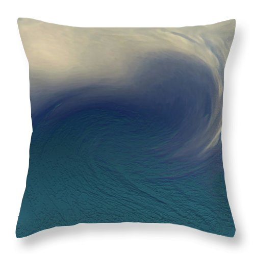 Abstract Wave Blue White Throw Pillow featuring the digital art Water And Clouds by Linda Sannuti