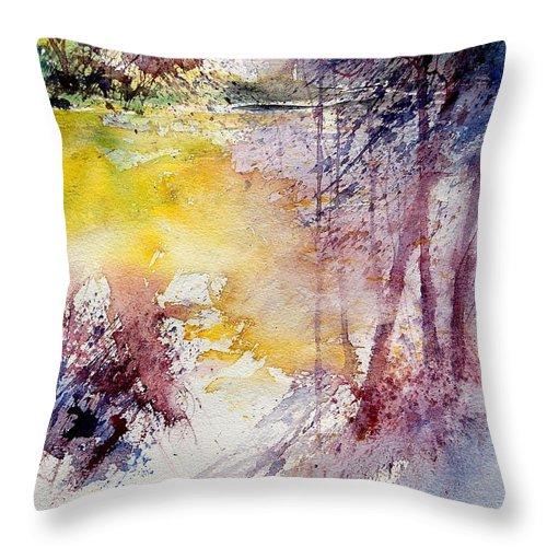 River Throw Pillow featuring the painting Watercolor 040908 by Pol Ledent