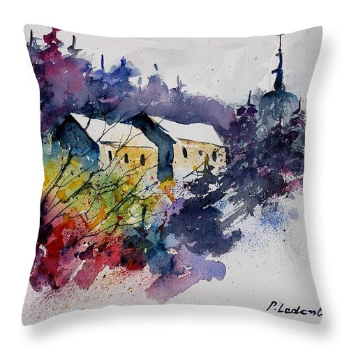 Winter Throw Pillow featuring the painting Watercolor 231207 by Pol Ledent