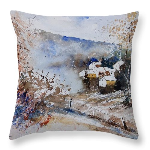 Winter Throw Pillow featuring the painting Watercolor 902091 by Pol Ledent