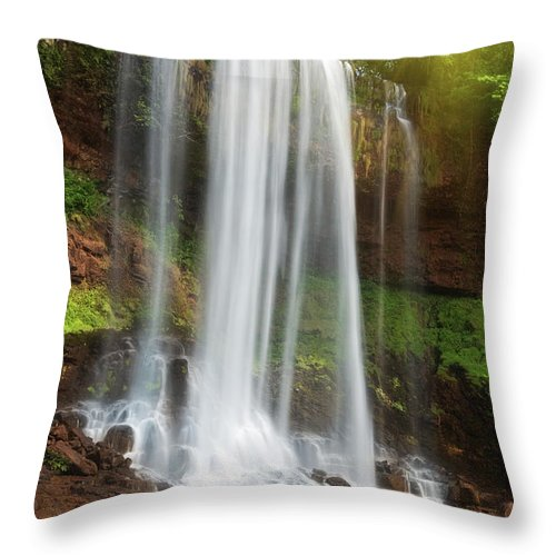 Waterfall Throw Pillow featuring the photograph Waterfall by MotHaiBaPhoto Prints