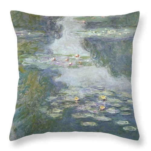 Pads Throw Pillow featuring the painting Waterlilies by Claude Monet