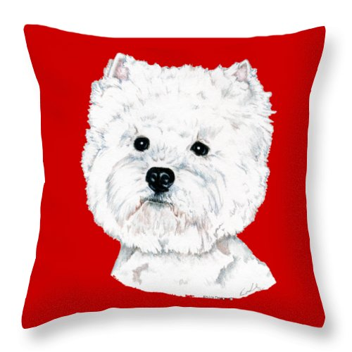West Highland White Terrier Throw Pillow featuring the drawing West Highland White Terrier, Westie by Kathleen Sepulveda