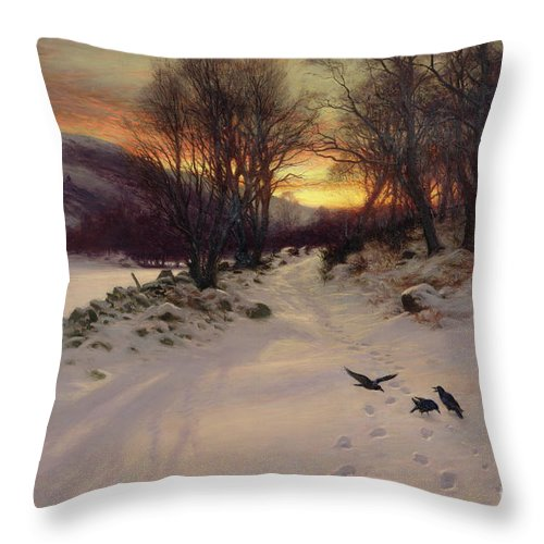 Winter Throw Pillow featuring the painting When The West With Evening Glows by Joseph Farquharson