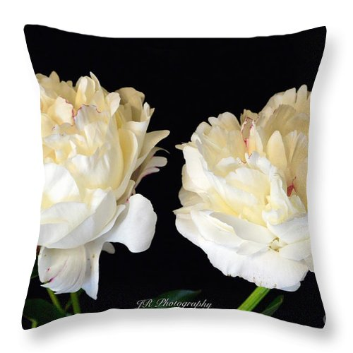 Peonies In Cream Throw Pillow featuring the photograph Peonies In Cream by Jeannie Rhode