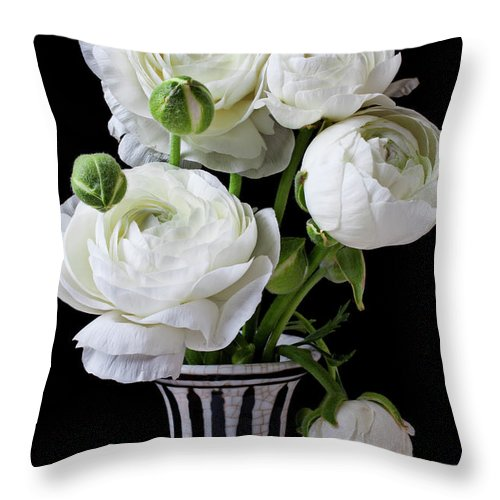 White Ranunculus Flower Vase Floral Throw Pillow featuring the photograph White Ranunculus In Black And White Vase by Garry Gay