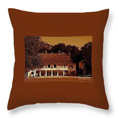 Whitney Plantation Throw Pillow featuring the photograph Whitney Plantation In Wallace Louisiana by Michael Hoard