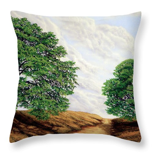 Windblown Clouds Throw Pillow featuring the painting Windblown Clouds by Frank Wilson