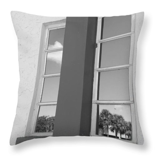 Black And White Throw Pillow featuring the photograph Window T Glass by Rob Hans