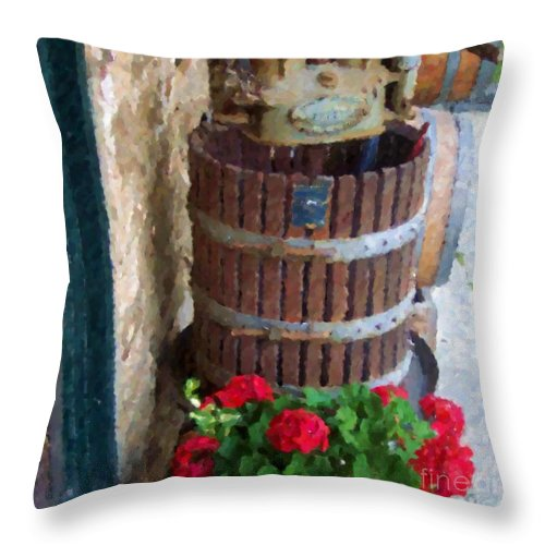 Geraniums Throw Pillow featuring the photograph Wine And Geraniums by Debbi Granruth