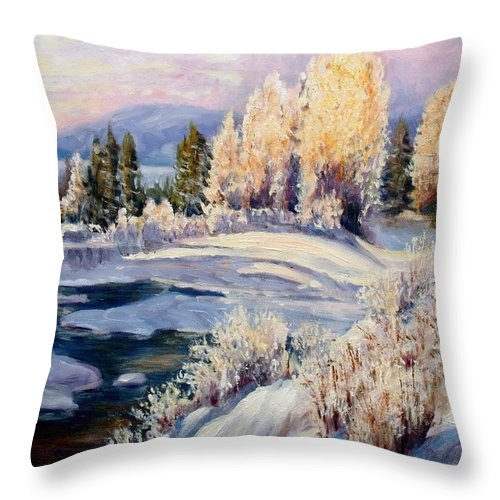 Winter Throw Pillow featuring the painting Winter by Elena Sokolova