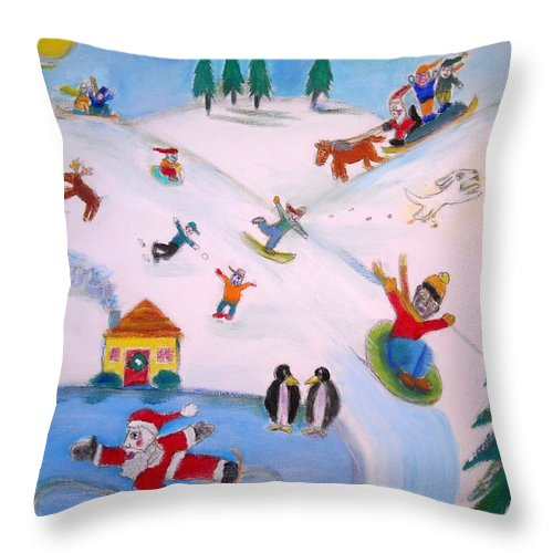 Winter Landscape With Children And Animals Throw Pillow featuring the painting Winter Fun by Ward Smith