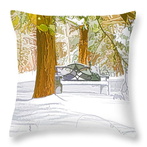 Winter Throw Pillow featuring the painting Winter by Jeelan Clark