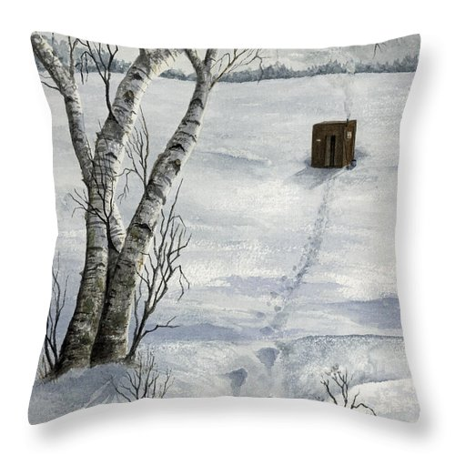 Fishing Throw Pillow featuring the painting Winter Splendor by Mary Tuomi