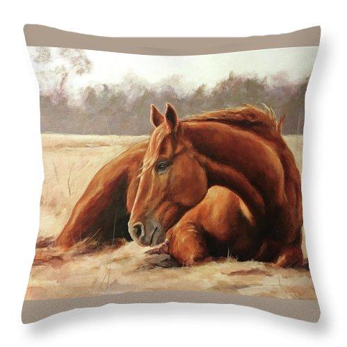 Joan Frimberger Throw Pillow featuring the painting Winter Sunbath by Joan Frimberger