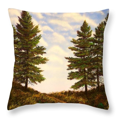 Wooded Path Throw Pillow featuring the painting Wooded Path by Frank Wilson