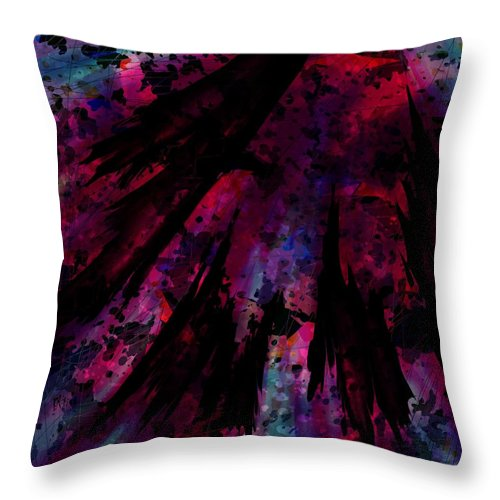 Abstract Throw Pillow featuring the digital art Words With A Red Wing by Rachel Christine Nowicki
