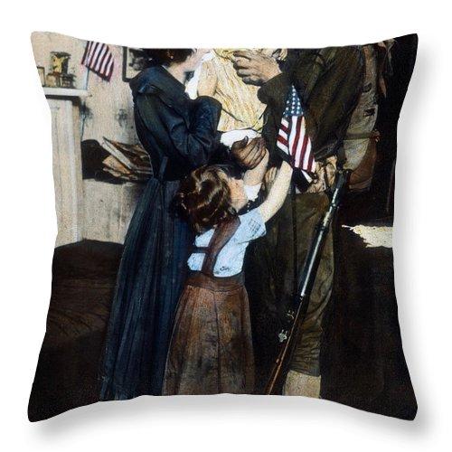 1917 Throw Pillow featuring the photograph World War I: Deployment by Granger