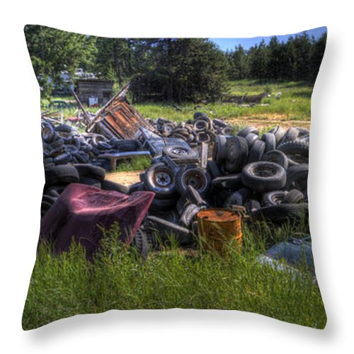 Automotive Throw Pillow featuring the photograph Wrecking Yard Study 9 by Lee Santa
