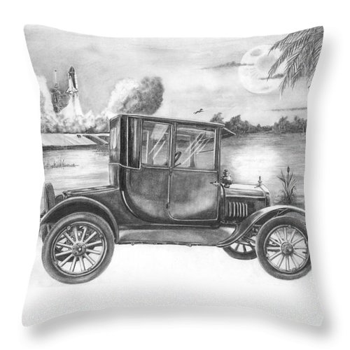 Pencil Throw Pillow featuring the drawing Yesterday And Today by Murphy Elliott