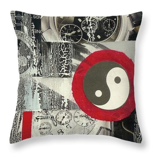 Black Throw Pillow featuring the mixed media Ying Yang by Desiree Paquette