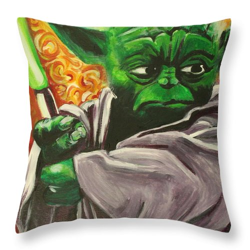 Yoda Throw Pillow featuring the painting Yoda by Kate Fortin