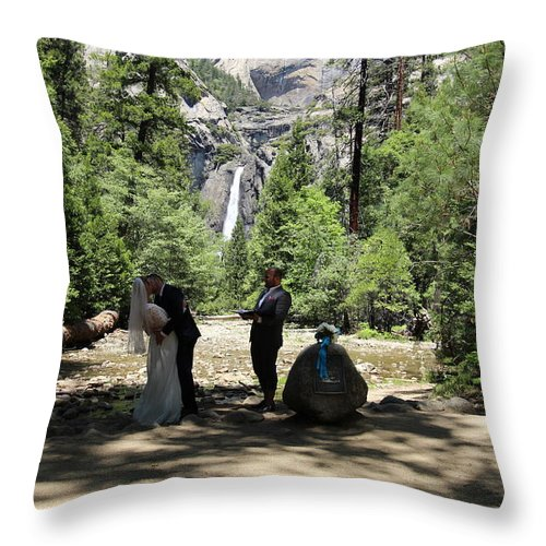 Throw Pillow featuring the painting Yosemite Wedding by Travis Day