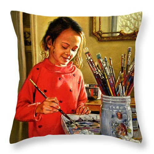 Young Girl Painting Throw Pillow featuring the painting Young Artist by John Lautermilch