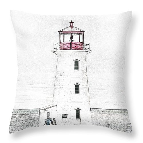 Lighthouse Throw Pillow featuring the mixed media You're My Beacon Peggy's Cove Lighthouse by Betsy Knapp