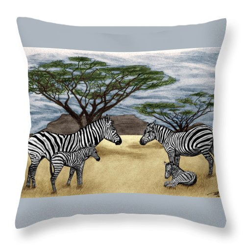 Zebra African Outback Throw Pillow featuring the drawing Zebra African Outback by Peter Piatt