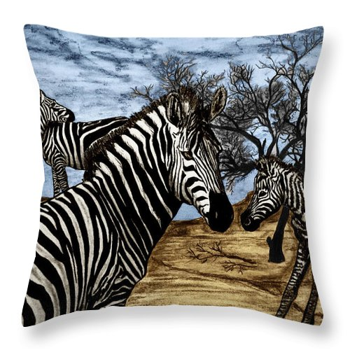 Zebra Outback Throw Pillow featuring the drawing Zebra Outback by Peter Piatt