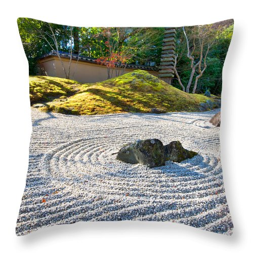 Abstract Throw Pillow featuring the photograph Zen Garden At A Sunny Morning by U Schade