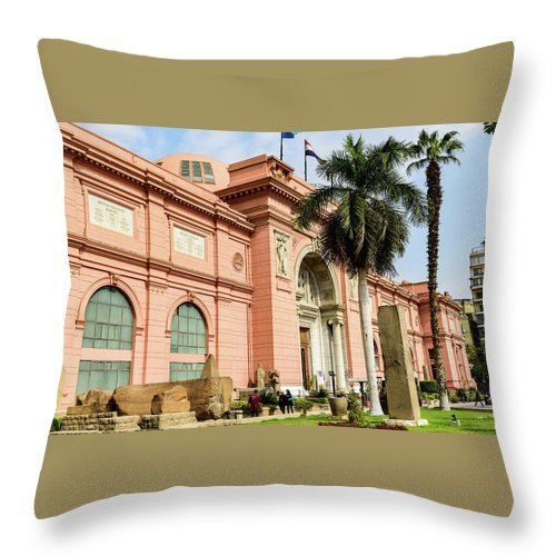 Egyptian Museum Of Antiquities Throw Pillow featuring the photograph Horse 2 - The Egyptian Museum Of Antiquities - Cairo Egypt by Jon Berghoff