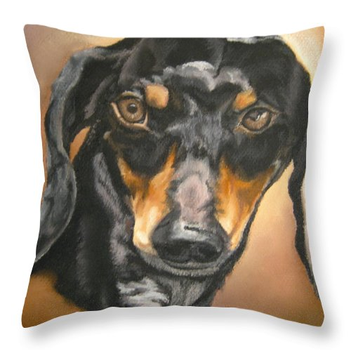 Dachsund Throw Pillow featuring the pastel Untitled by John Huntsman