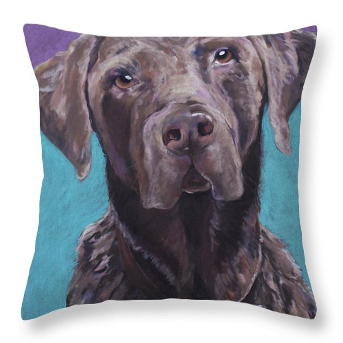 Pet Portrait Commissions Throw Pillow featuring the pastel 100 Lbs. Of Chocolate Love by Pat Saunders-White