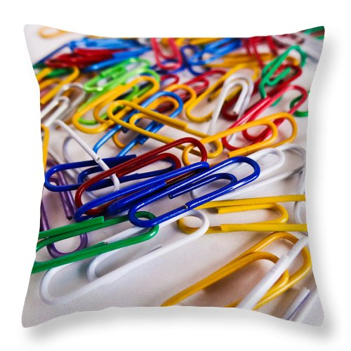 One Hundred Throw Pillow featuring the photograph 100 Paperclips by Julia Wilcox