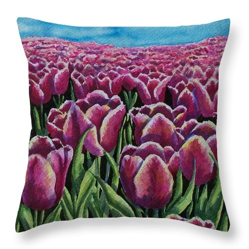 Tulips Throw Pillow featuring the painting 1000 Tulpis by Conni Reinecke